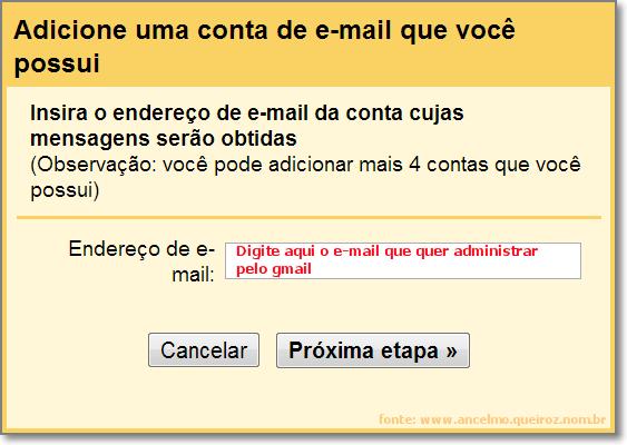 Adicionar e-mail pop3 - Etapa 01