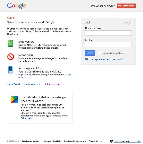 Criar e-mail Gmail - Etapa 01