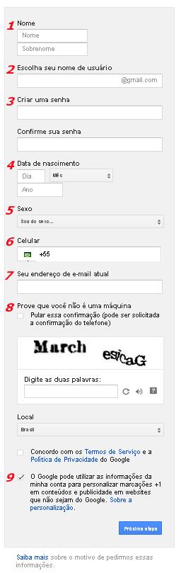 Criar e-mail Gmail - Etapa 02