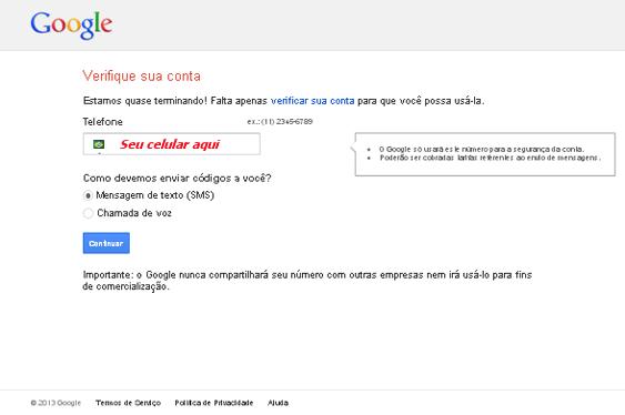 Criar e-mail Gmail - Etapa 03