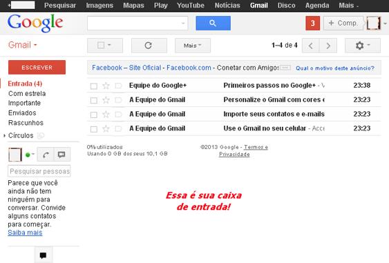 Criar e-mail Gmail - Etapa 07 - Sua caixa de entrada