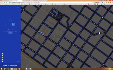 PacMan no Mapa do Google – Tela Inicial