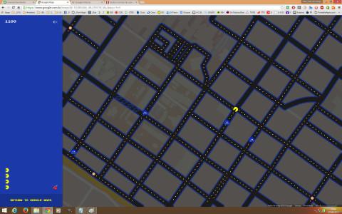 PacMan no Mapa do Google – Jogando
